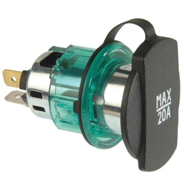 Power stekkerdoos inbouw 20A Max. met groene span huls