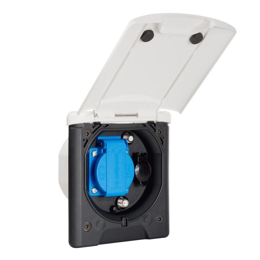 Buiten Multifunctionele aansluiting 12V-230V- 2x SAT.
