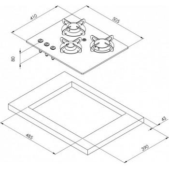 3 pits gaskookplaat Gehard glas en RVS constructie