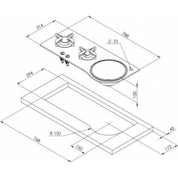 2 pits gaskookplaat Gehard glas en RVS met spoelbak B788xD335
