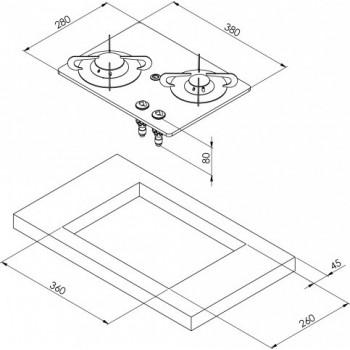 2 pits gaskookplaat Gehard glas en RVS constructie
