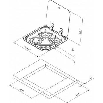 3 pits gaskookplaat RVS met Gehard glas deksel