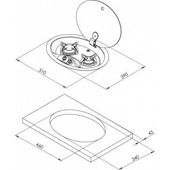 2 pits ovale gaskookplaat RVS met glazen afdekplaat