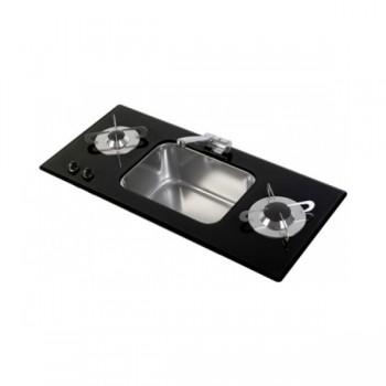2 pits gaskookplaat Gehard glas en RVS met spoelbak B800xD365