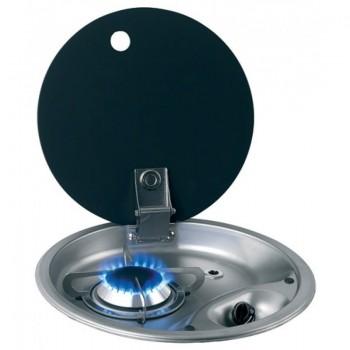 1 pits ronde gaskookplaat RVS met glazen afdekplaat