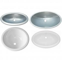 Kunststof wasbakken Ovaal of rond, wit of grijs, 6 maten