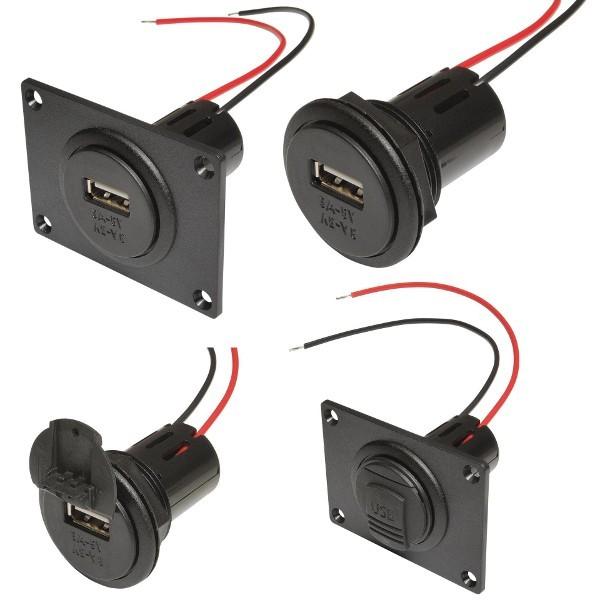 Power USB 12V - 5V 3A stopcontact met of zonder klep, met