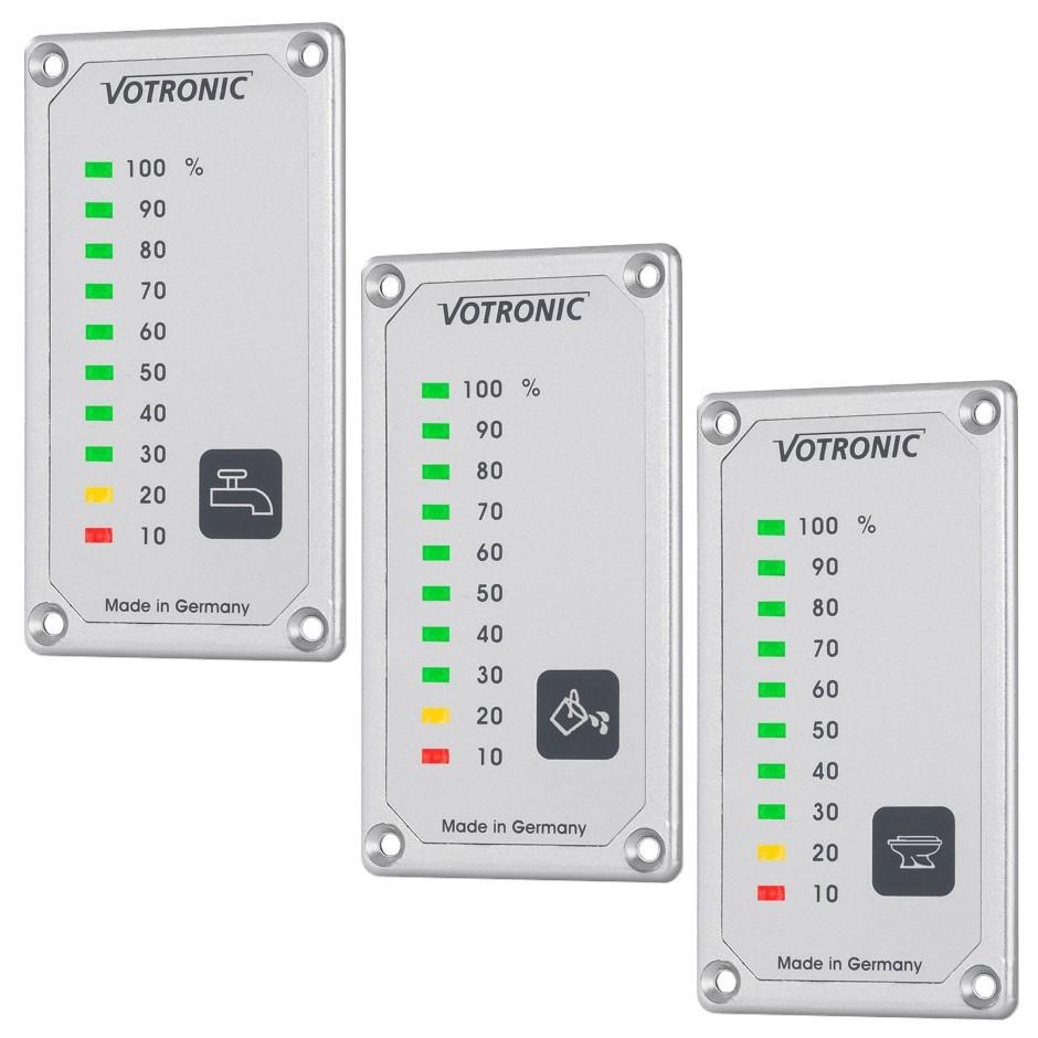 Votronic LED tank Displays voor drinkwater, afvalwater en