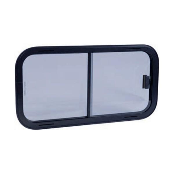 Schuifraam met Veiligheidsglas, zwart frame van 40 tot 80 cm