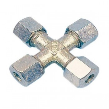 Knelkoppelingen Kruis-stuk Gas 8mm of 10mm Staal