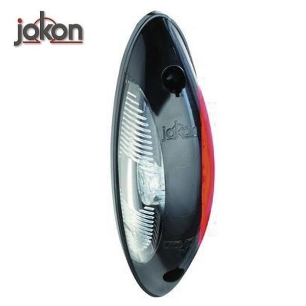 Markeringslamp 12V LED, rood/wit 124 x 39 x 32 mm