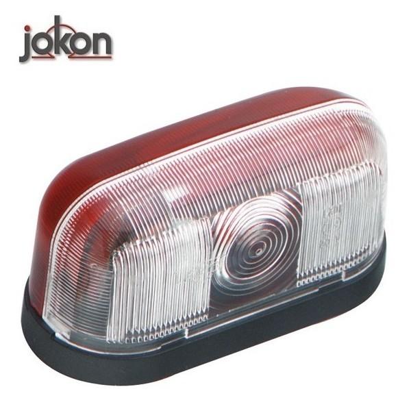 Markeringslamp 12V op voet, rood/wit 93,5 x 44 x 49 mm