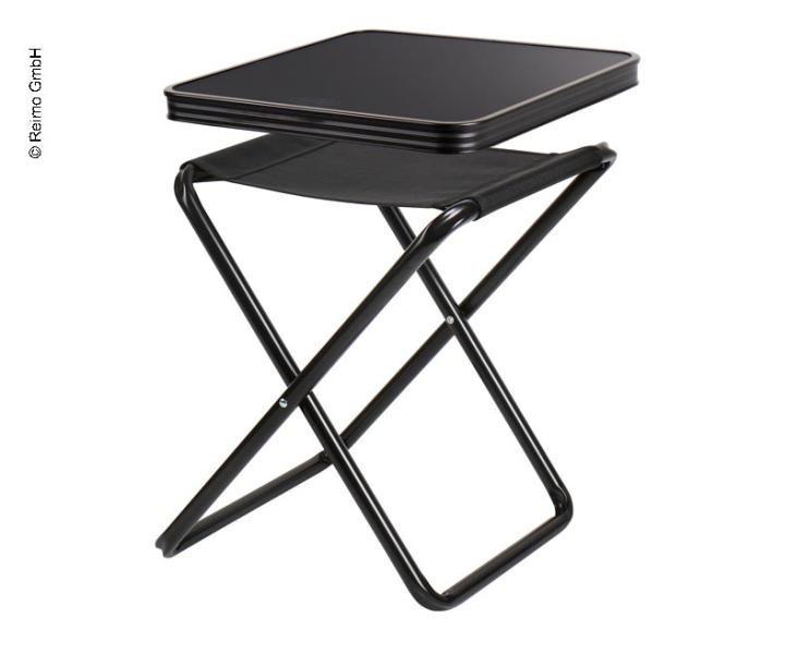 Opklapbaar krukje met tafelblad, zwart, laadvermogen 30kg /