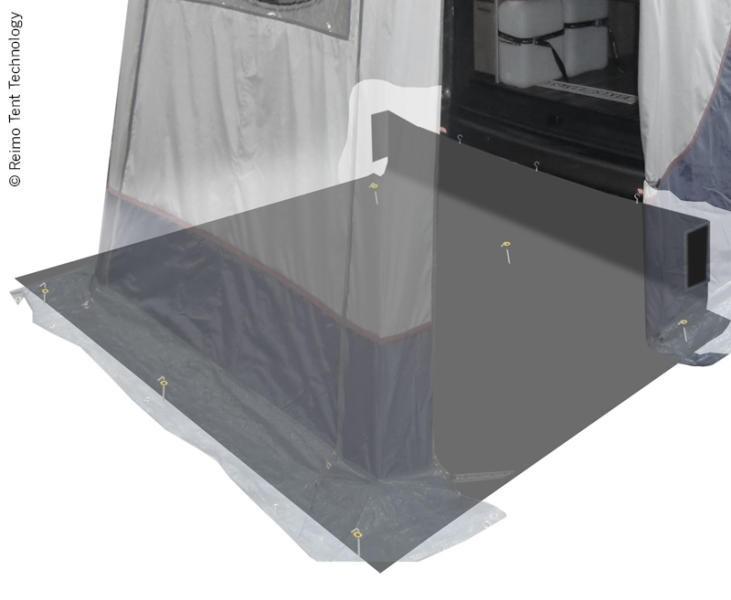 Grondzeil voor achterklep tent Trapez+Vertic Trafic en Hiace