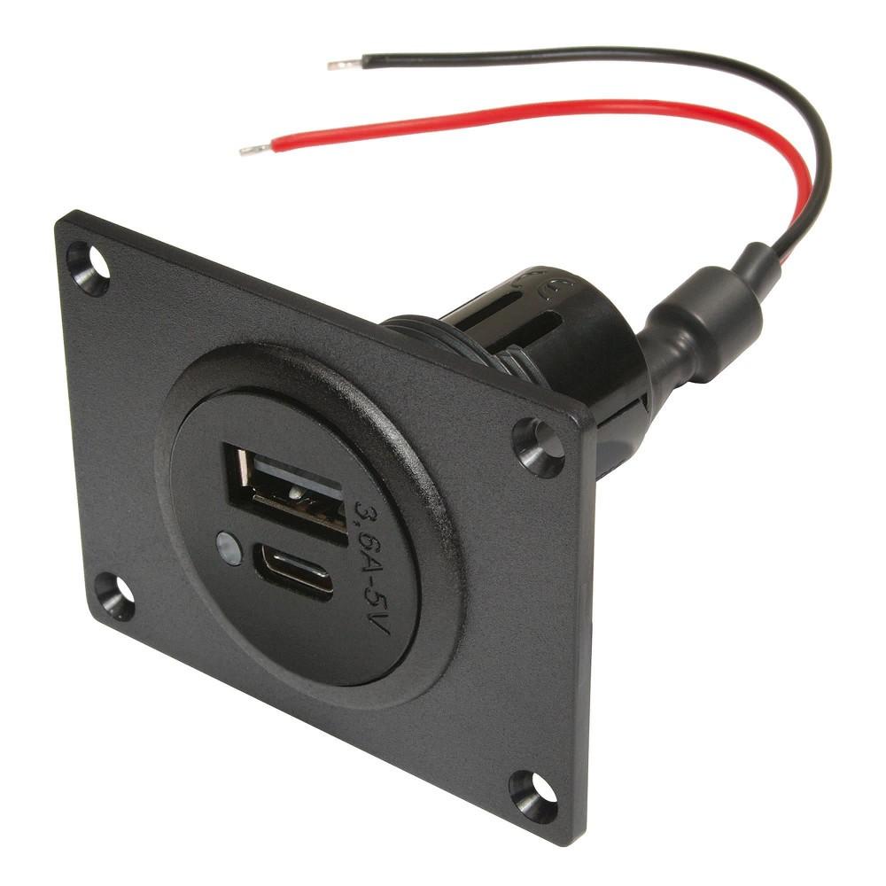 Power USB-C/A dubbele aansluiting 3,6A met montageplaat