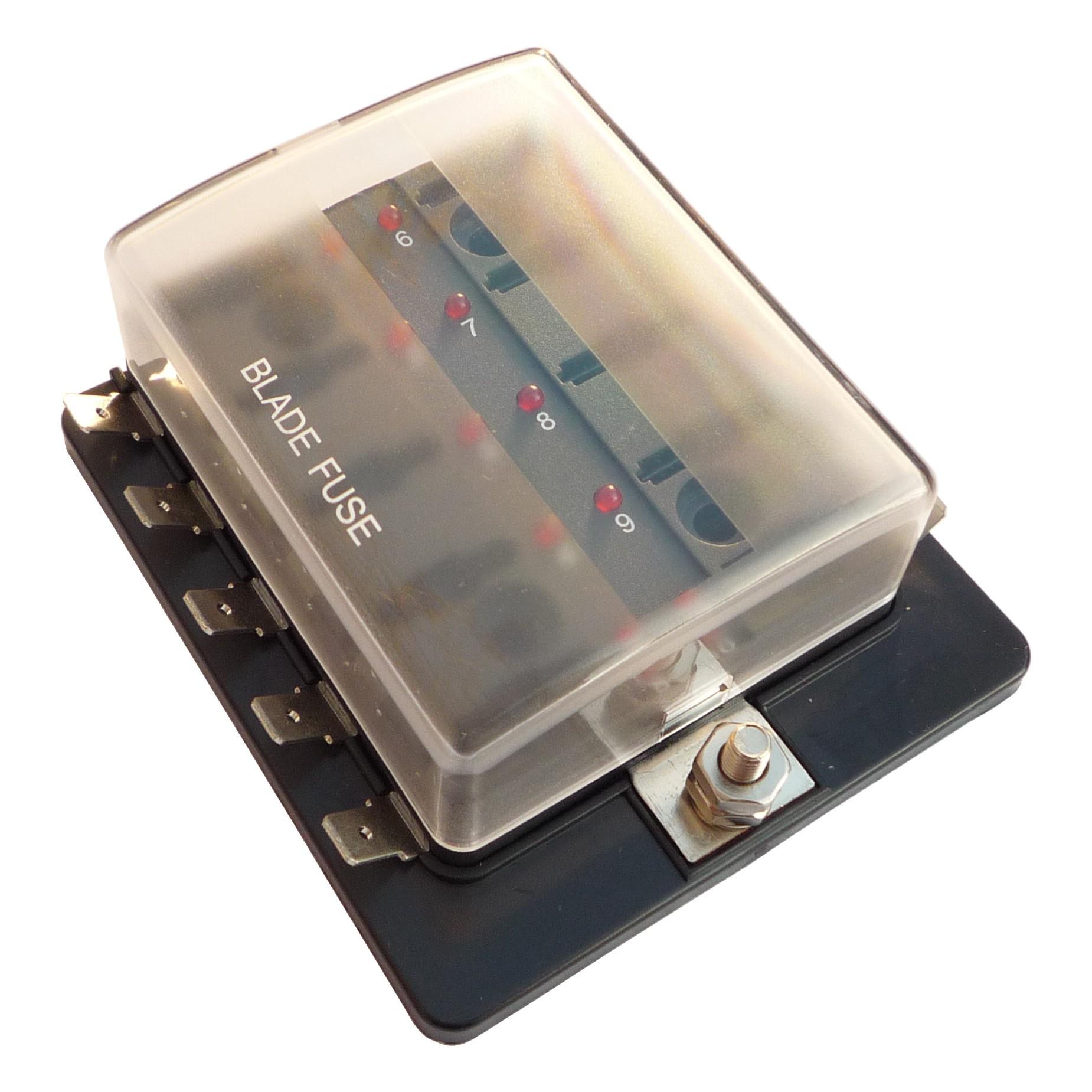 Steekzekeringhouder met LED ATO met afdekkap voor 10 zekeringen
