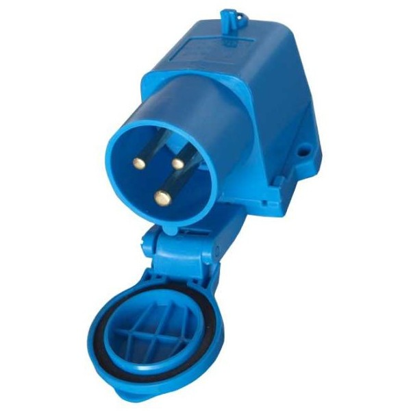 CEE-stopcontact, opbouwstekker met deksel, blauw
