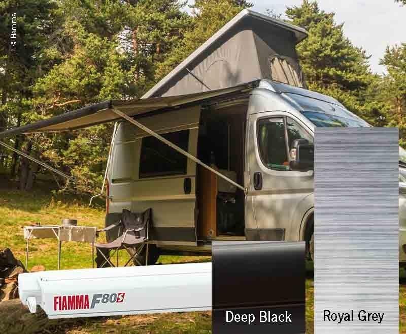 Fiamma F80S Lengte: 400cm Kleur stof: Royal Grey, behuizing: