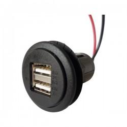 Power USB 12V - 5V 5A dubbel stopcontact met montageplaat